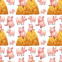 Sömlös bakgrund med grisar och höstackar vektor