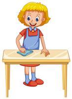 Eine Dame Cleaning Table auf weißem Hintergrund