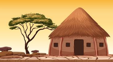 Eine traditionelle Hütte in der Wüste vektor
