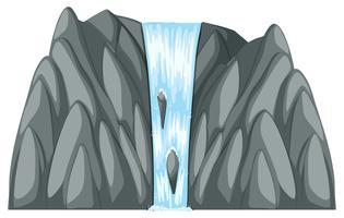 Wasserfall, der von den grauen Felsen herunterkommt vektor