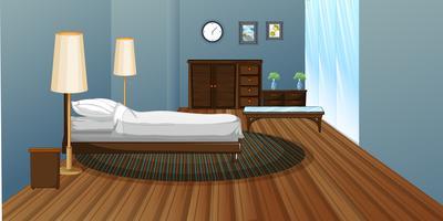 Sovrum med trägolv