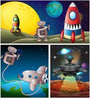 Drei Szenen mit Rakete im Weltall