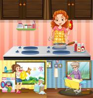 Kvinnor gör olika sysslor i huset