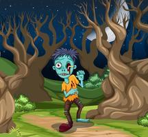 En zombie i skogen vektor