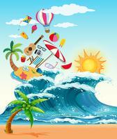 Sommar tema med stora vågor och solsken vektor