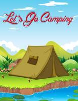 Campingaffisch med tält vid floden