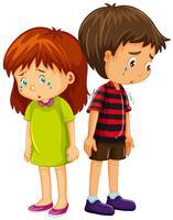 Trauriger Junge und Mädchen weinen vektor