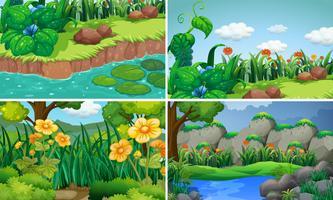 Fyra scener med blommor i trädgården