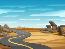 Szene mit leerer Straße im Wüstenland