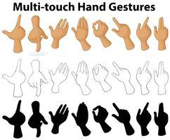 Diagramm, das Multi-Touch-Handgesten zeigt vektor