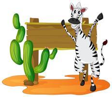Zebra und Holzschild im Wüstenfeld vektor