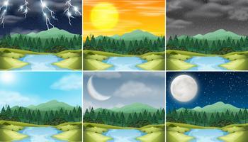 Set Naturlandschaftsunterschiedliches Wetter vektor