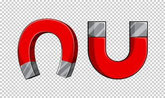 U-förmige Magnete auf transparentem Hintergrund vektor