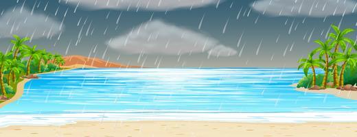 Ozeanszene mit Regensturm vektor