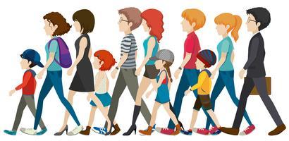 En grupp människor utan ansikten