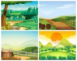 Fyra scener av landsbygden vektor