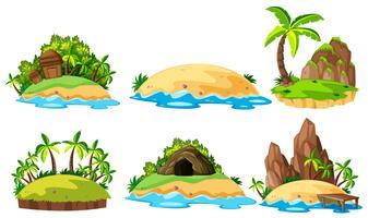 Sechs Ansichten von Inseln auf weißem Hintergrund