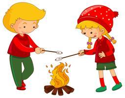 Pojke och tjej med marshmallow vektor