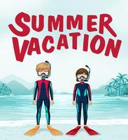 Sommar semester tema med dykare vektor