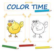 Färgpapper mall med gul chick vektor