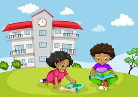 Kinder vor dem Gebäude vektor