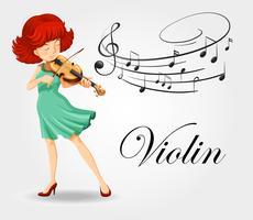 Kvinna spelar violin med musikanteckningar vektor
