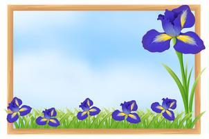 Ramdesign med blå blommor