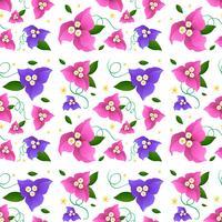 Seamless bakgrundsdesign med bougainvillea blommor vektor