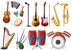 Olika typer av musikinstrument vektor