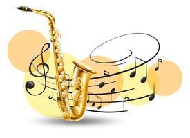 Gyllene saxofon med musik anteckningar i bakgrunden