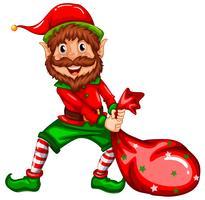 Happy Elf tragen Sack