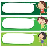 Etikettendesign mit vielen Mädchen vektor