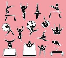 Aufkleberentwurf für Gymnastik vektor
