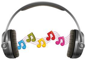 Hörlurar med musik anteckningar på vit bakgrund