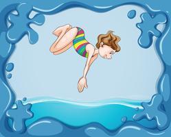 Ramdesign med flicka dykning i vatten