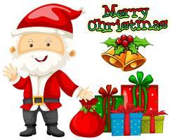 Weihnachtsmotiv mit Weihnachtsmann und Geschenken vektor