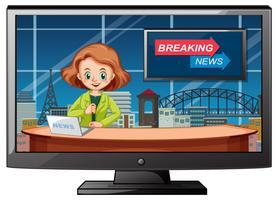 Live breaking news i studio vektor