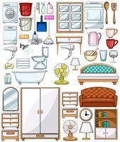 Olika hushållsutrustning och möbler