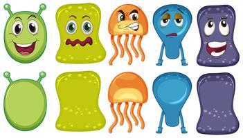 Fünf Monster mit unterschiedlichen Gesichtsausdrücken