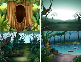 Vier Waldszenen mit Bäumen und Fluss