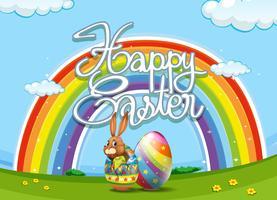 Glückliches Ostern-Plakat mit Häschen und Ei vektor