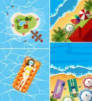 Fyra havsutsikt med turister vektor