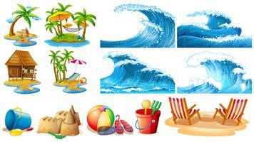 Sommar tema med blå vågor och öar vektor