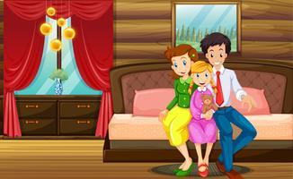 Familienmitglieder im Schlafzimmer vektor