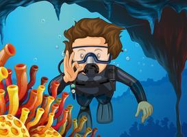 Mann beim Tauchen unter dem Ozean vektor