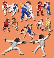 Människor gör olika kampsporter
