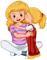 Liten flicka kyssande mamma vektor