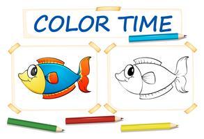 Färgsmall med fisk vektor