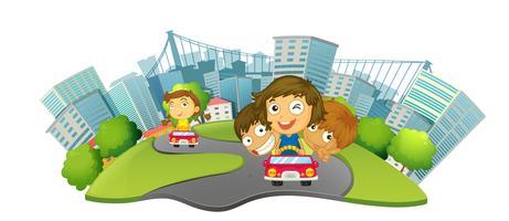 Barn som kör bilar i stadsparken vektor