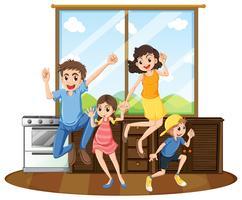 Familie zu Hause glücklich vektor